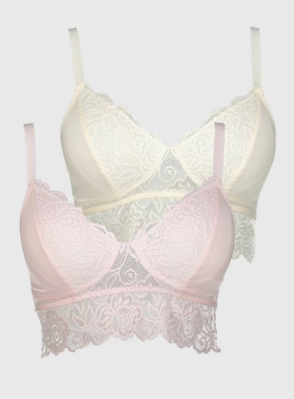 DD+ Pink & Ivory Supersoft Lace Bralette 2 Pack - 16