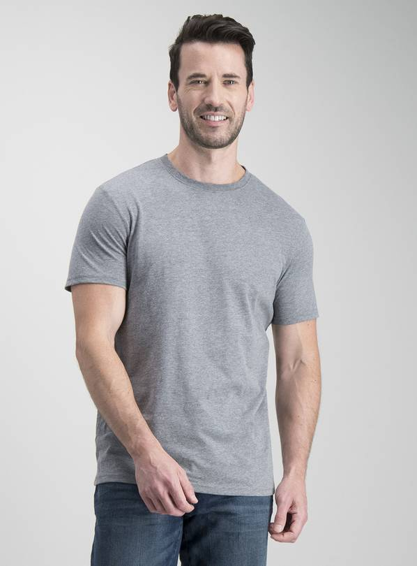 Grey Marl Crew Neck T-Shirt - XXXL