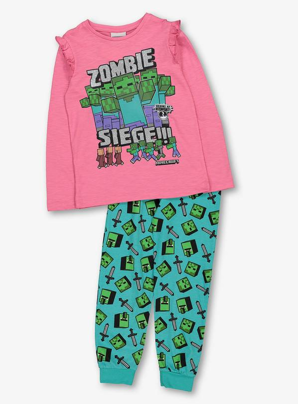 vente pas cher prix réduit pas cher Buy Halloween Minecraft Pink And Green Pyjama Set - 8-9 years | Nightwear  and slippers | Argos