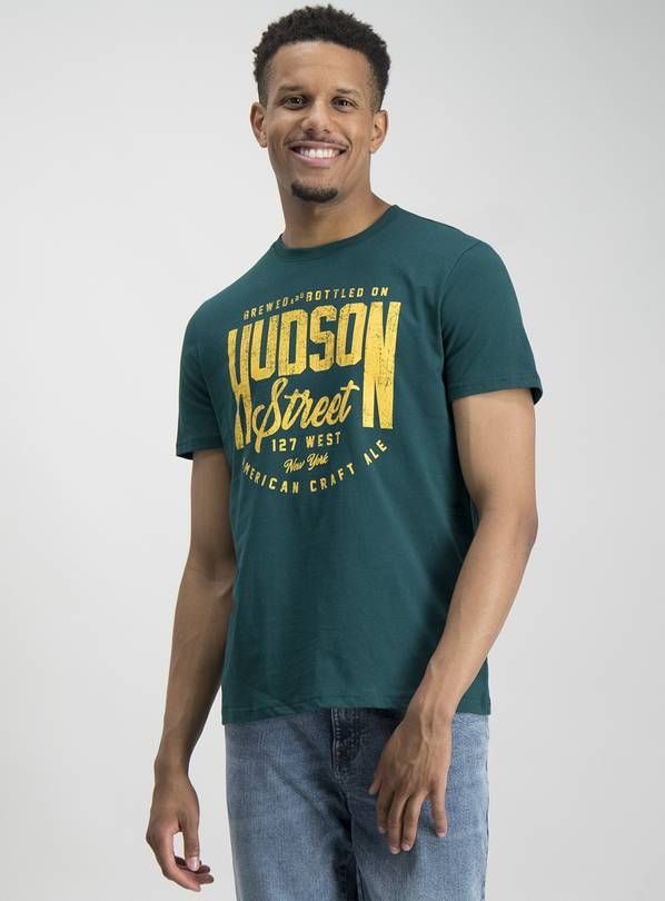 Green 'Hudson Street' Graphic Crew Neck T-Shirt - M