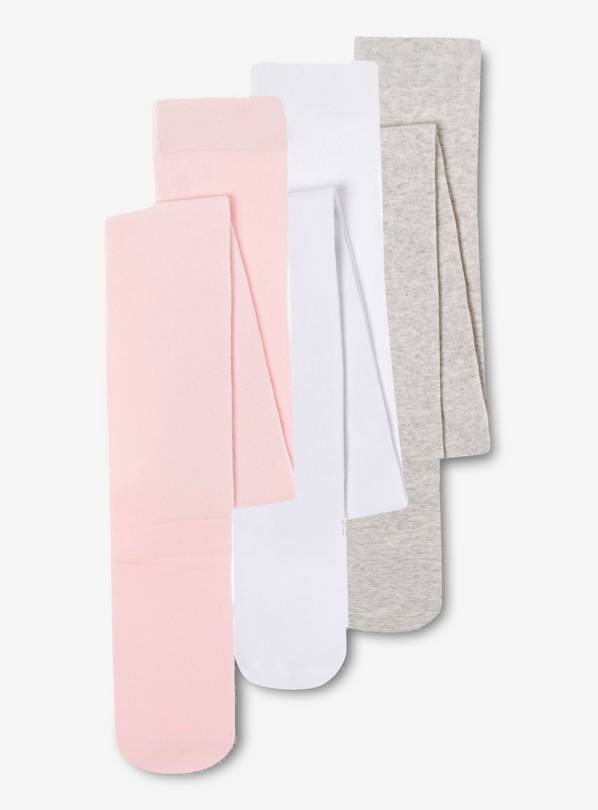 Pink, White & Grey Super Soft Tights 3 Pack - 1-2 years