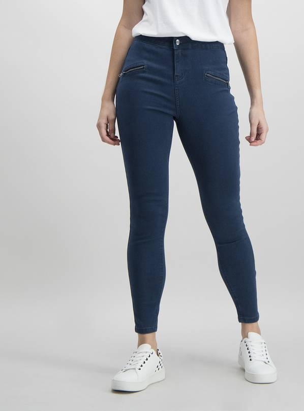 Blue Zip Detail Skinny Jeans - 14L