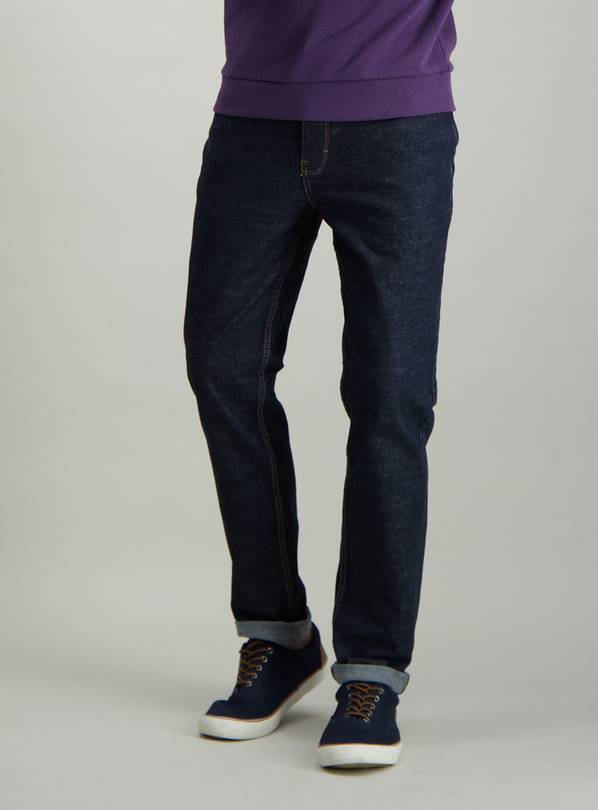 Dark Blue Denim Slim Fit Jeans With Stretch - W42 L32