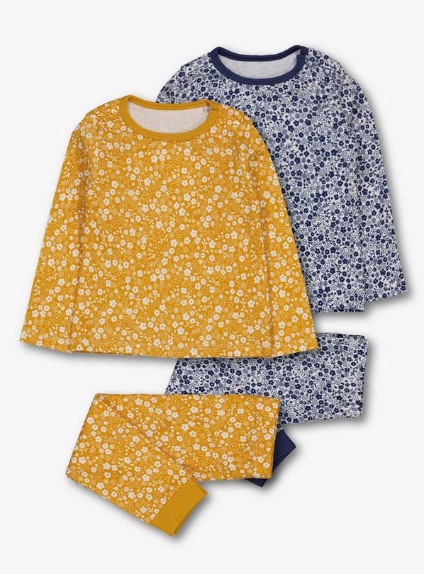 Mustard Yellow & Blue Floral Pyjamas 2 Pack - 3-6 months