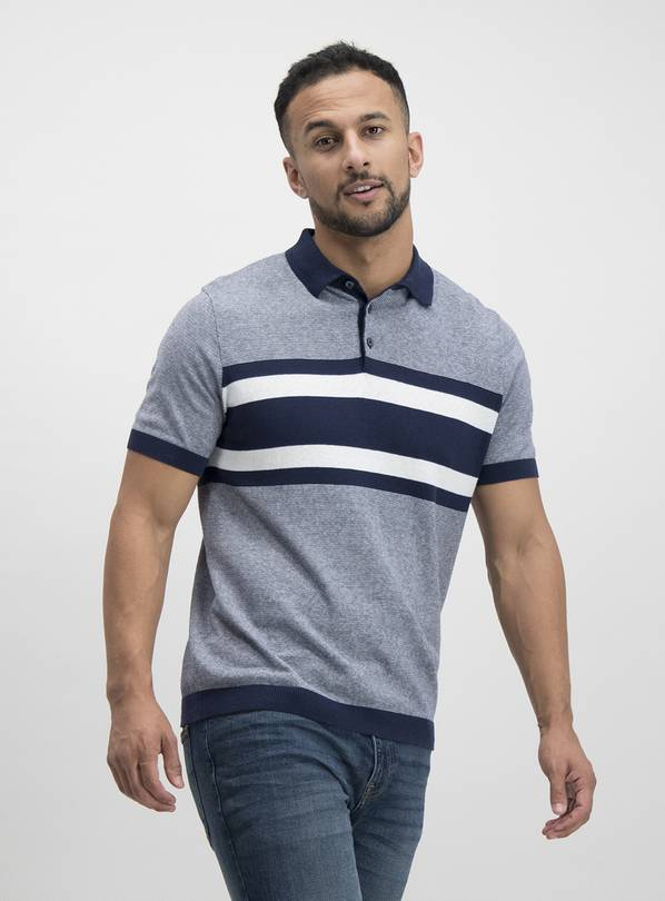 Navy Nautical Stripe Knitted Polo - L