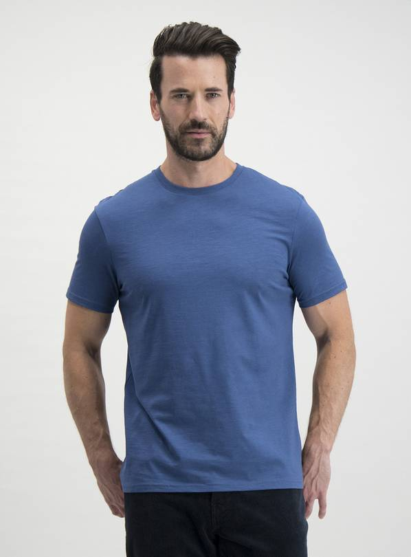 Blue Regular Fit Cotton Slub T-Shirt - M