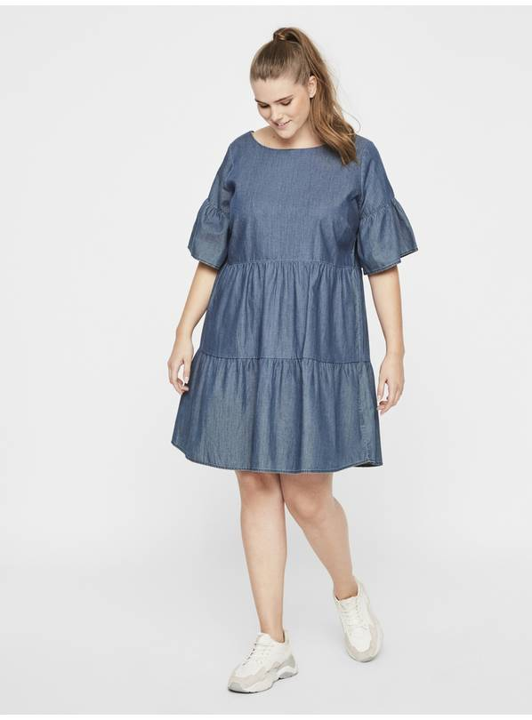 JUNAROSE Blue Denim Tiered Dress - 26