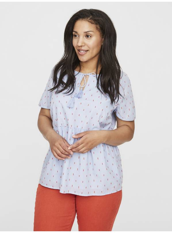 Blue Printed Tie Detail Short Sleeve Top - 26