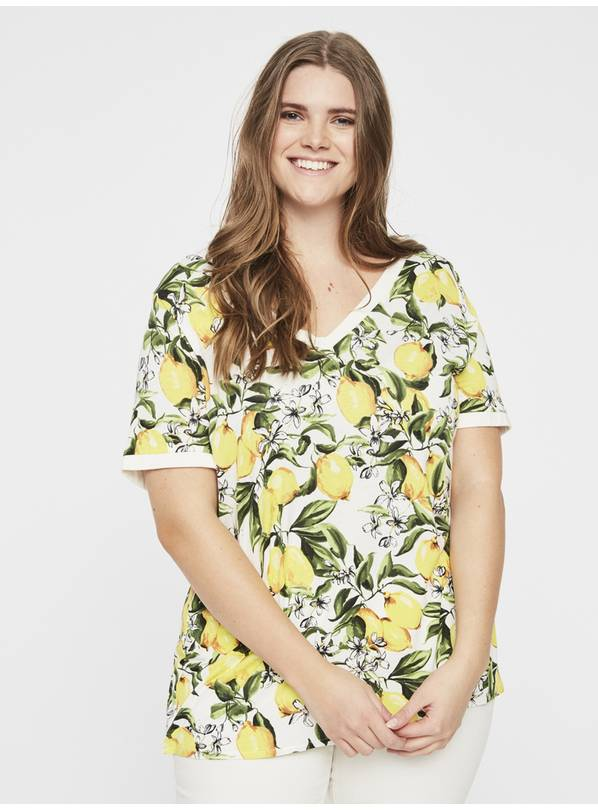 Yellow Lemon Print V-Neck T-Shirt - L