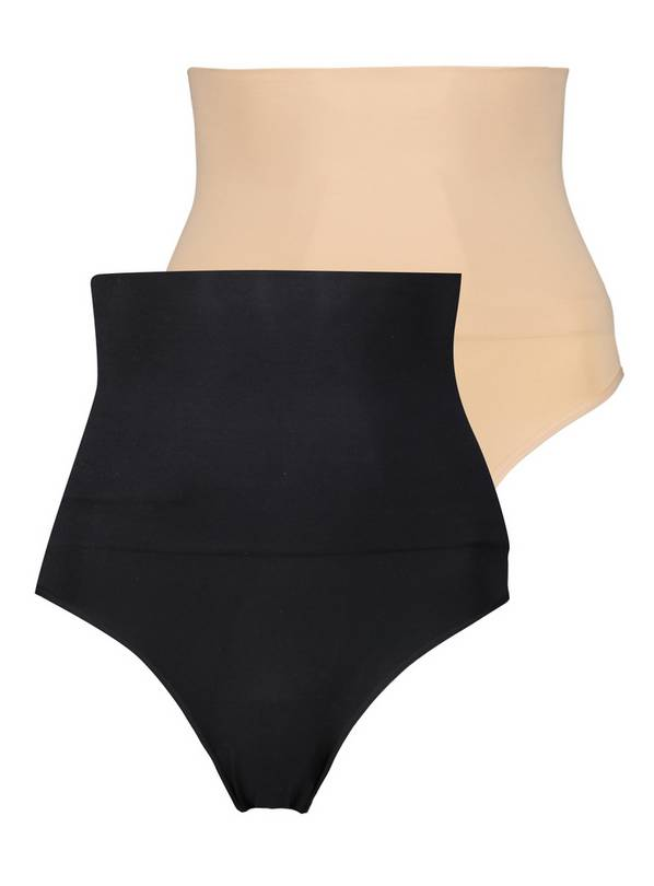 Secret Shaping Black & Nude High Waisted Knicker 2 Pack - S