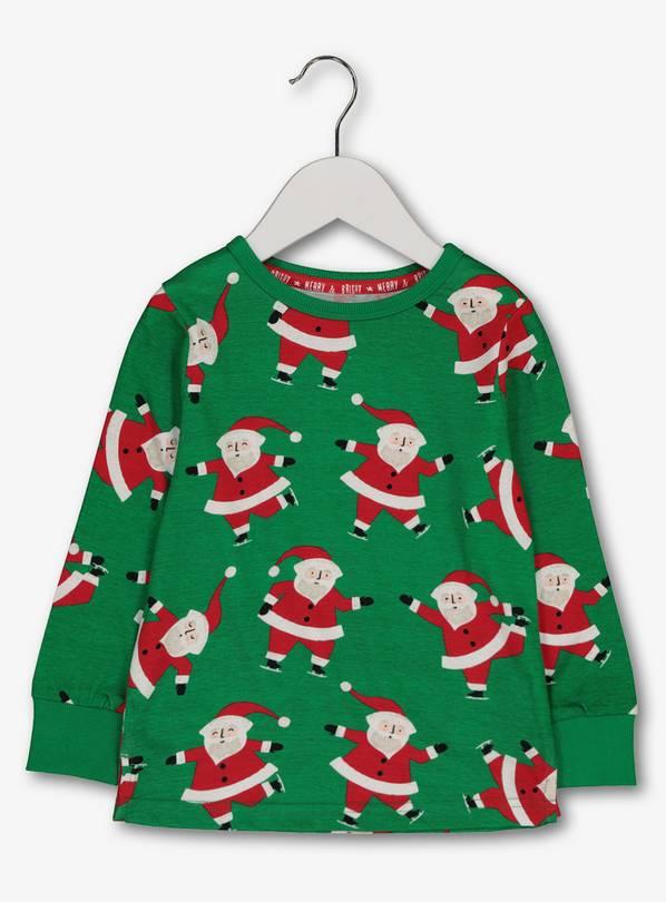Christmas Green.Buy Christmas Green Santa Long Sleeve Top 1 5 2 Years T Shirts Argos