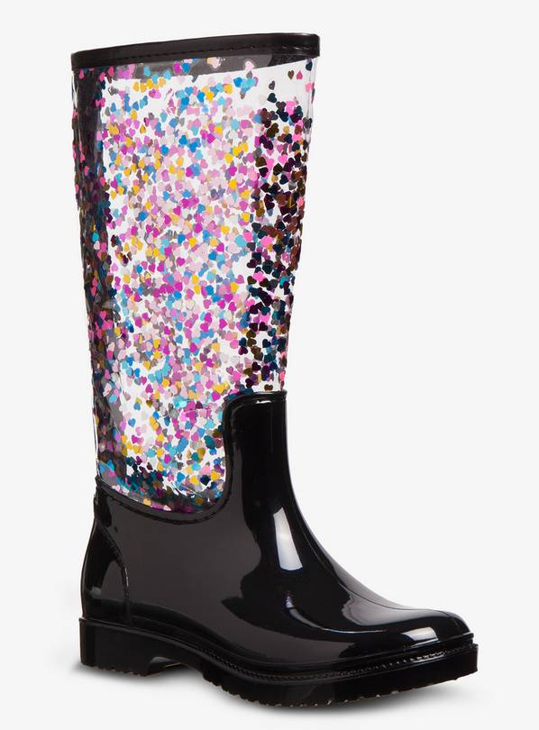 Multicoloured Heart Confetti Clear Wellies - 10 Infant
