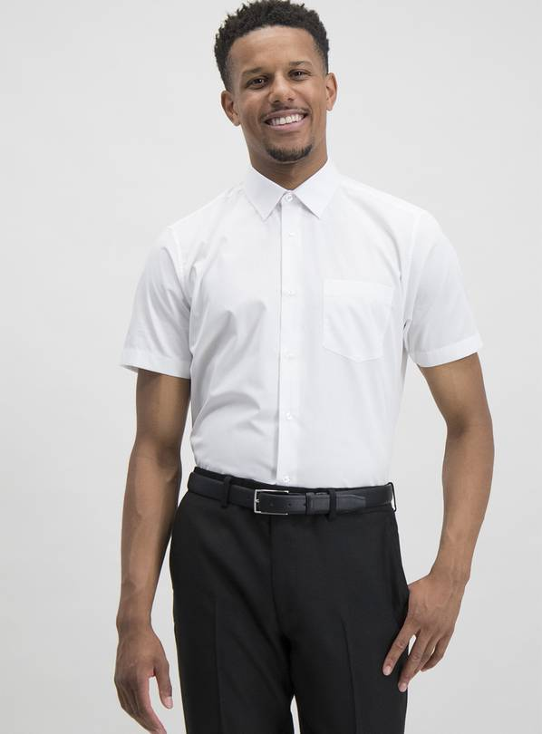 White Regular Fit Short Sleeve Easy Iron Shirts 3 Pack - 16.
