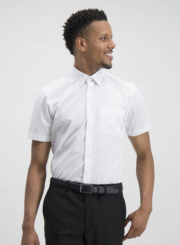 White Tailored Fit Short Sleeve Easy Iron Shirts 3 Pack - 14