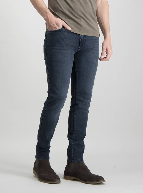 Blue Black Super Skinny Denim 4 Way Stretch Jeans - W38 L30