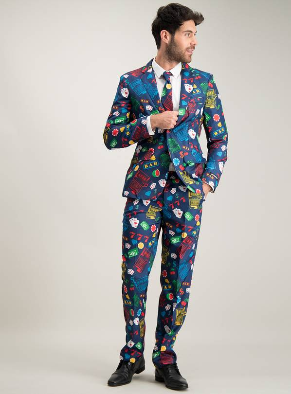 Casino Print Suit & Tie Set - XXL