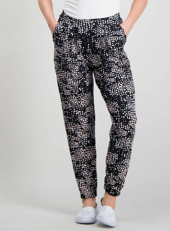 df39c32fd PETITE Black Abstract Spot Drapey Jersey Trousers - 12tuc135953520