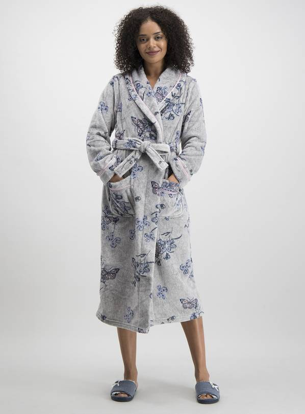 Grey Butterfly Print Long Dressing Gown - M