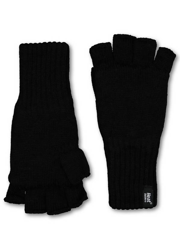 SOCKSHOP HEAT HOLDERS Black Fingerless Gloves - One Size