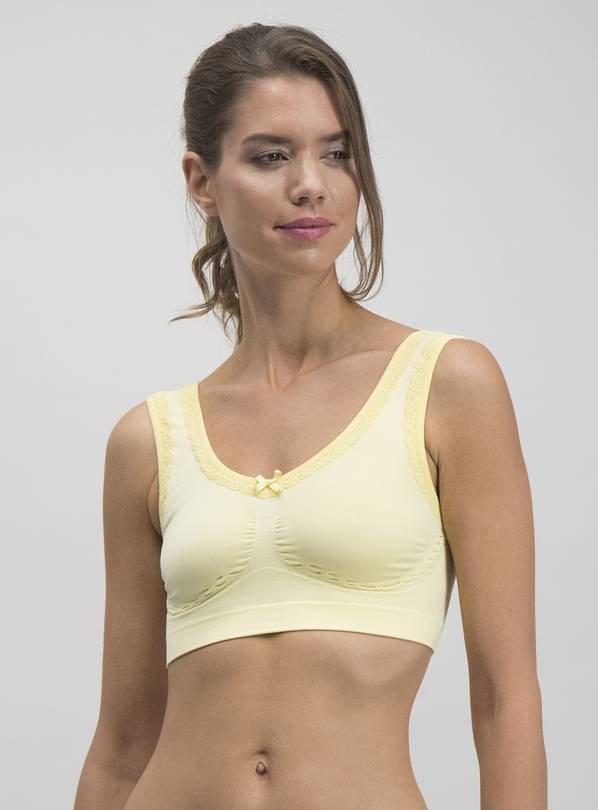 Yellow Seamless Lace Crop Top - XXXL