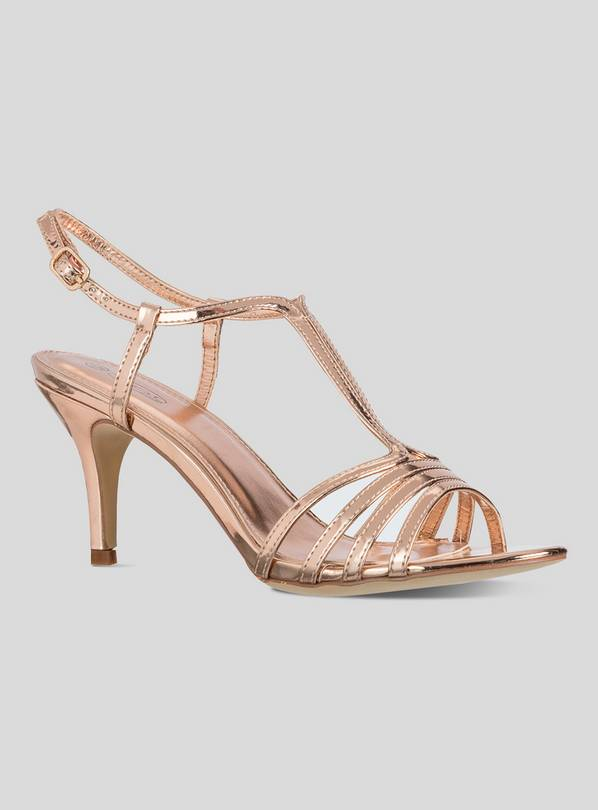 Online Exclusive Rose Gold Strappy Sandals - 3