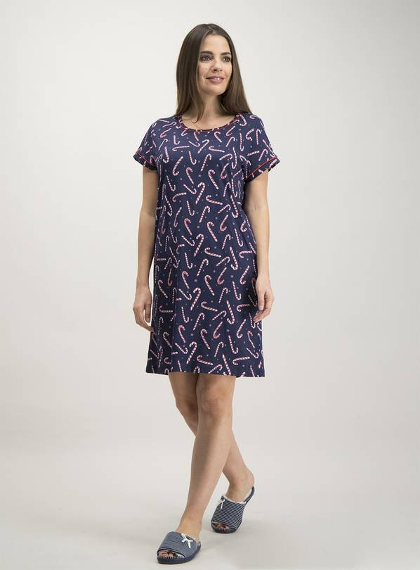 Christmas Navy Candy Cane Print Nightdress - 28