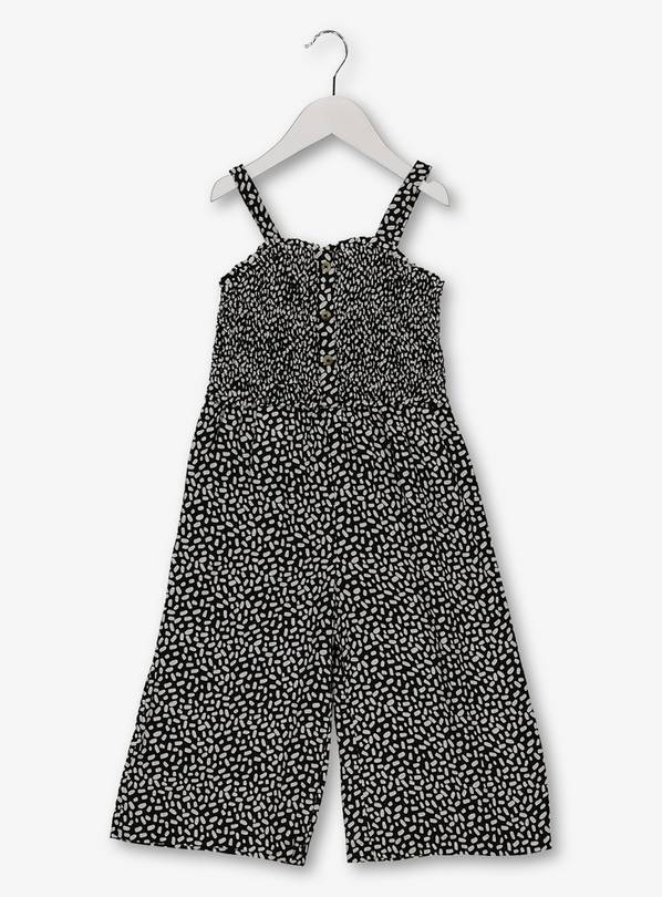 Monochrome Oval Print Wide Leg Jumpsuit - 10 years