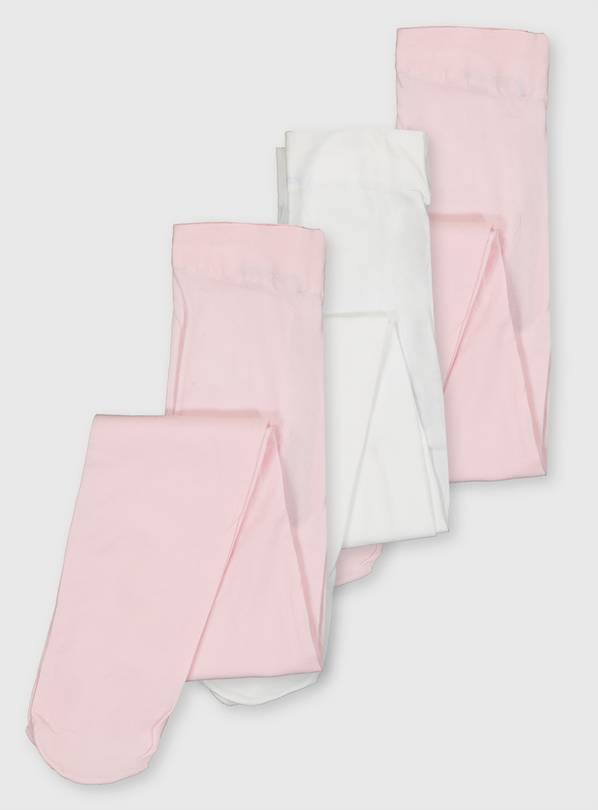 Pink & White Ballet Tights 3 Pack - 1-2 years