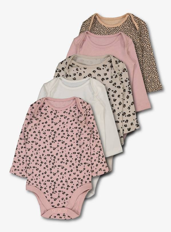 Leopard Print Long Sleeve Bodysuits 5 Pack - Up to 1 mth
