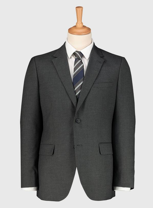 Grey Dogtooth Tailored Fit Suit Jacket - 48S
