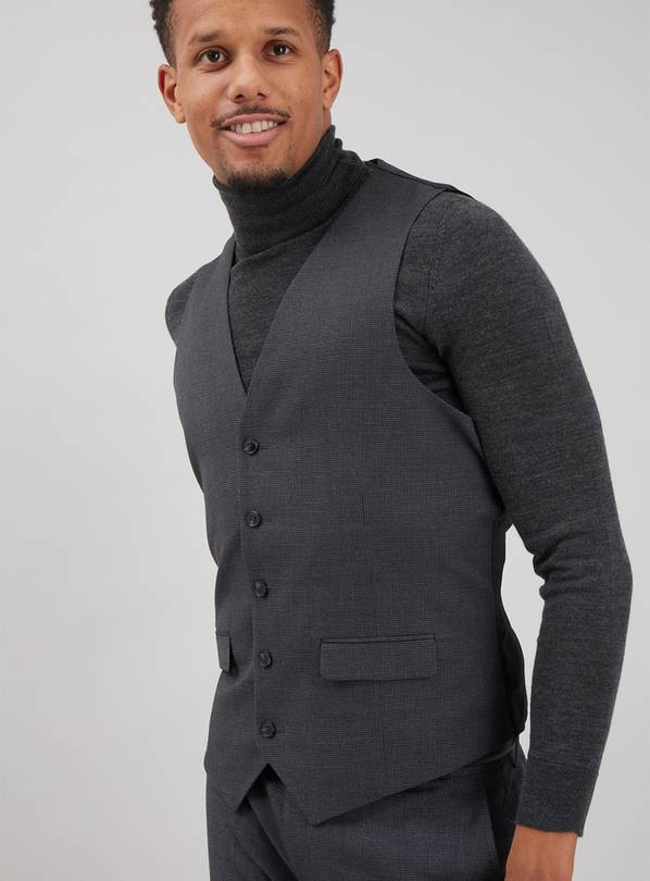 Grey Dogtooth Tailored Fit Waistcoat - 38R