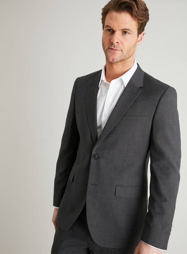 Grey Dogtooth Check Slim Fit Jacket - 54R