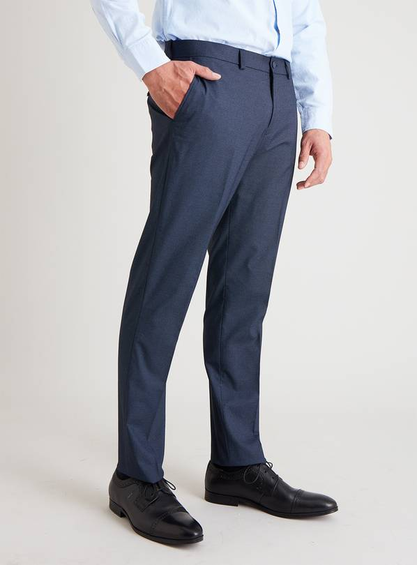 Navy Textured Slim Fit Trousers - W44 L29