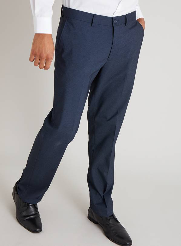 Navy Textured Tailored Fit Trousers With Stretch - W38 L33