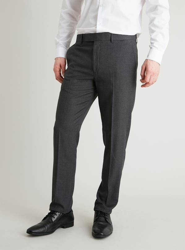 Grey Dogtooth Slim Fit Suit Trousers - W48 L31