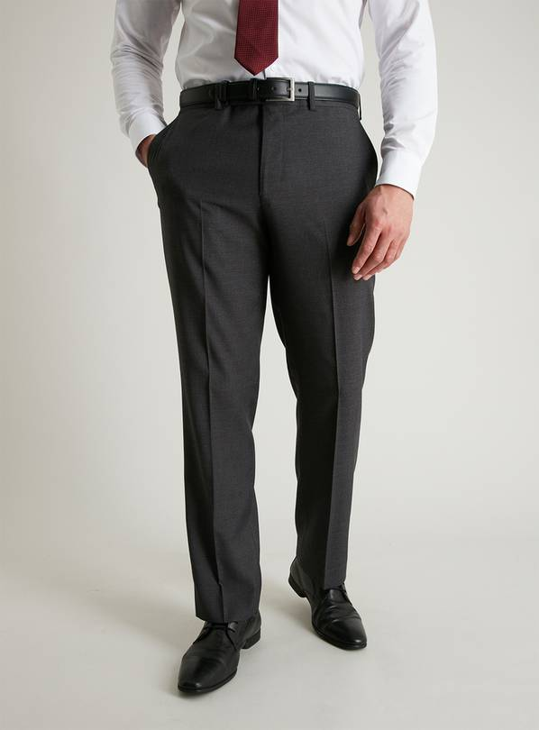 Grey Dogtooth Regular Fit Suit Trousers - W40 L33