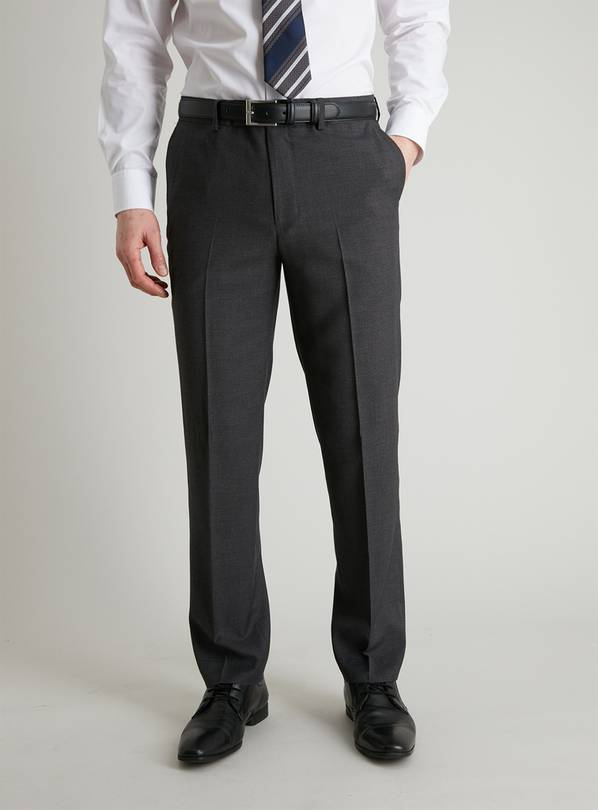 Grey Dogtooth Tailored Fit Suit Trousers - W48 L31