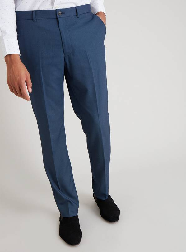 Blue Textured Slim Fit Trouser With Stretch - W38 L29