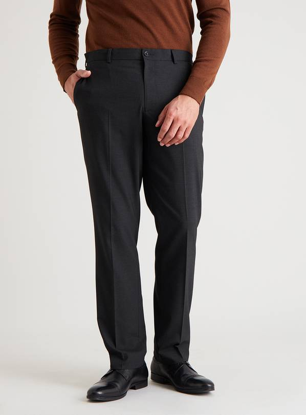 Black Textured Tailored Fit Trousers With Stretch - W42 L31