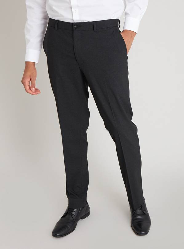 Black Check Slim Fit Trousers With Stretch - W38 L31