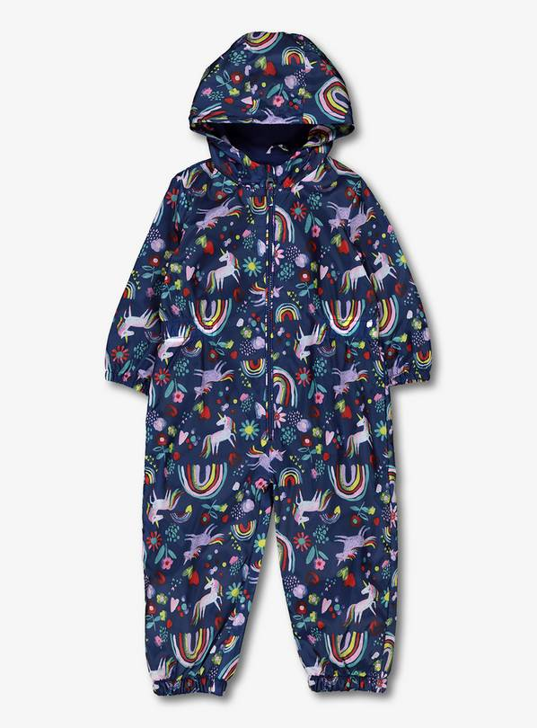 Navy Rainbow & Unicorn Puddlesuit - 9-12 months