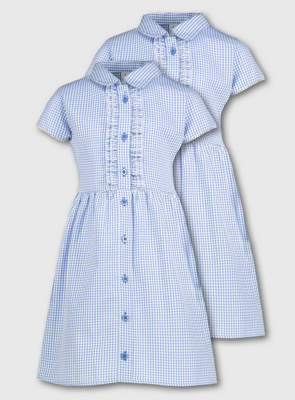 Blue Gingham Frilled Classic School Dress 2 Pack - 8 years