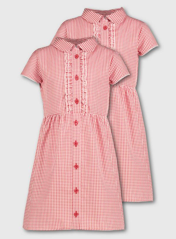 Red Gingham Frilled Classic School Dress 2 Pack - 6 years