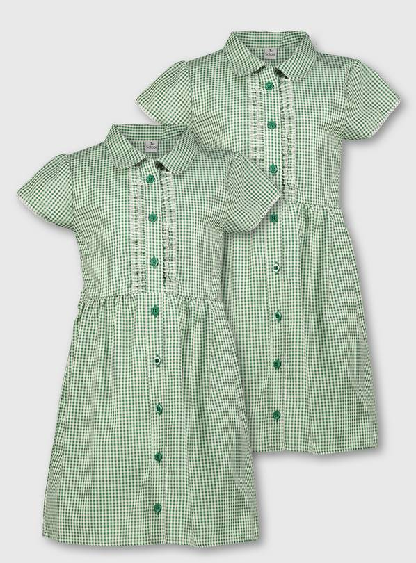 Green Gingham Frilled Classic School Dress 2 Pack - 12 years