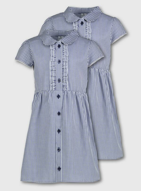 Navy Gingham Frilled Classic School Dress 2 Pack - 13 years