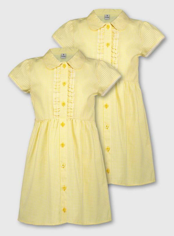 Yellow Gingham Frilled Classic School Dress 2 Pack - 10 year
