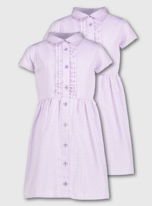 Lilac Gingham Frilled Classic School Dress 2 Pack - 10 years
