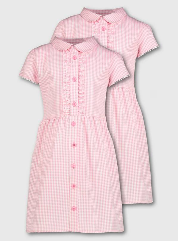 Pink Gingham Frilled Classic School Dress 2 Pack - 8 years