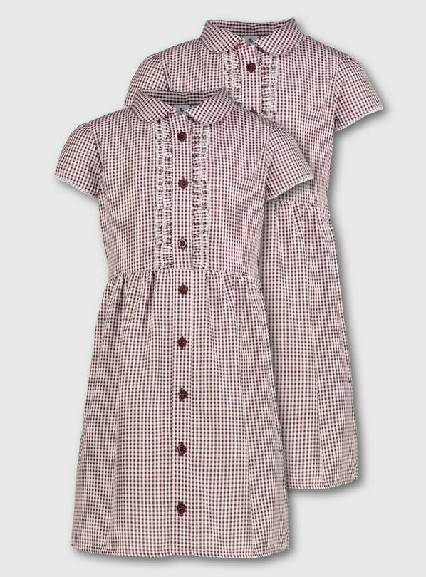 Maroon Gingham Frilled Classic School Dress 2 Pack - 6 years