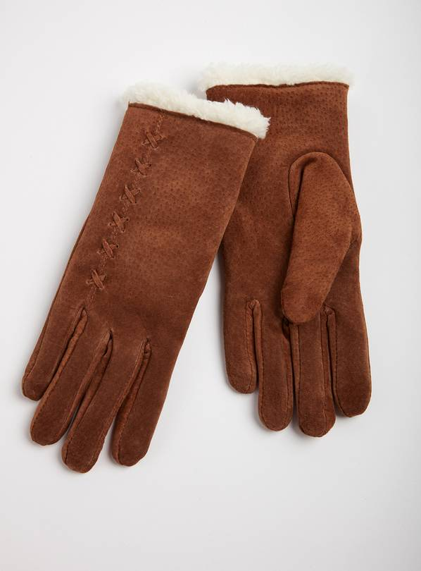 ISOTONER Tan Luxury Suede Gloves - L